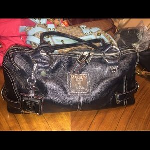 Tignanello's Black Pebbled Leather Shoulder Bag